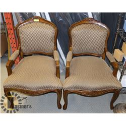 SET OF 2 VINTAGE WOODEN ARMCHAIRS