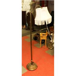 VINTAGE BRASS FLOOR LAMP WITH SHADE