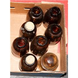 SEVEN BROWN SPICE STORAGE JARS WITH OLD CAPACITER