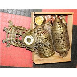 ESTATE COLLECTION OF BRASS CLOCKS, SCONCES AND