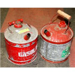 LOT OF 2 GASLINE STEEL CONTAINERS - ONE IS GREAT