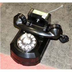 1950'S WALL HANGING ROTARY DIAL PHONE, GLOSS BLACK