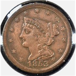 1853 HALF CENT, VF/XF