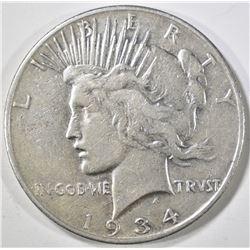 1934-S PEACE DOLLAR, VF
