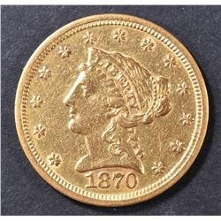 1870-S GOLD $2.5  BU  OLD CLEANING