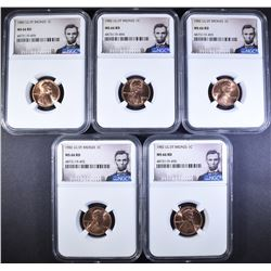 5-LG DATE BRONZE LINCOLN CENTS NGC MS-66 RD