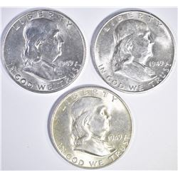 1949 P, D, S FRANKLIN HALF DOLLARS  CH BU
