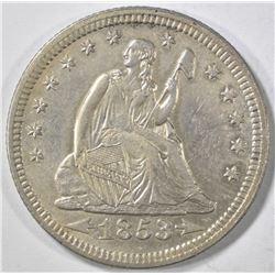 1853 ARROWS AND RAYS SEATED QUARTER  AU/BU