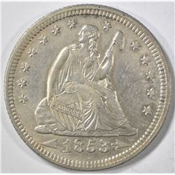 1853 ARROWS AND RAYS SEATED QUARTER  AU/BU
