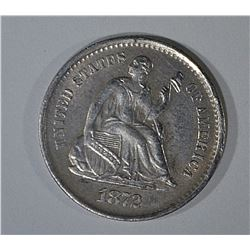 1872-S SEATED LIBERTY HALF DIME CH BU