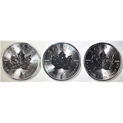 3-GEM BU 2014 1oz SILVER CANADA MAPLE LEAF COINS