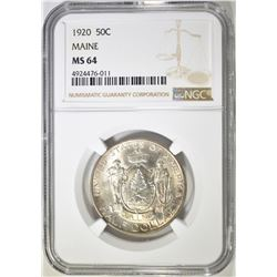 1920 MAINE COMMEM HALF DOLLAR  NGC MS-64