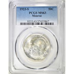 1923-S MONROE COMMEM HALF DOLLAR  PCGS MS-63