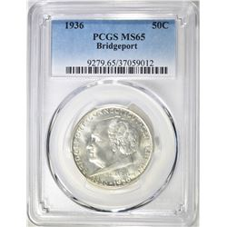 1936 BRIDGEPORT COMMEM HALF DOLLAR  PCGS MS-65