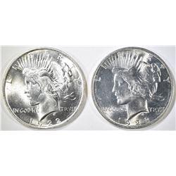 1922 & 1923 PEACE DOLLARS  BU