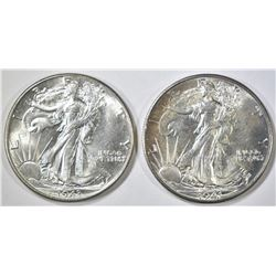 1941 & 43 WALKING LIBERTY HALF DOLLARS  CH BU