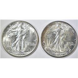 1941 & 43 WALKING LIBERTY HALF DOLLARS  CH BU