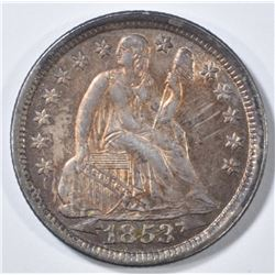 1853 ARROWS SEATED LIBERTY DIME  CH BU  COLOR