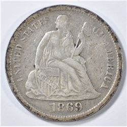 1869-S SEATED LIBERTY DIME   XF