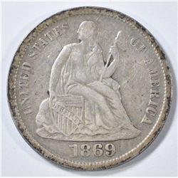 1869-S SEATED LIBERTY DIME   XF