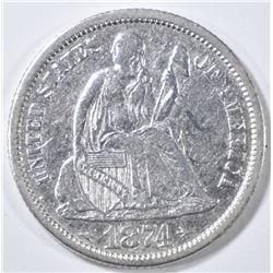 1874 ARROWS SEATED LIBERTY DIME  XF