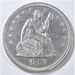 1857 SEATED LIBERTY QUARTER AU/BU
