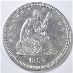 1857 SEATED LIBERTY QUARTER AU/BU