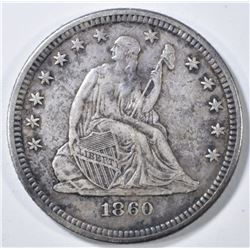 1860 SEATED LIBERTY QUARTER  XF