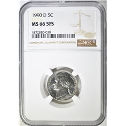 1990-D JEFFERSON NICKEL NGC MS 66 5FS