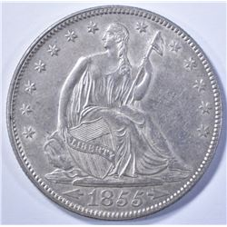 1855 WITH ARROWS SEATED HALF DOLLAR, AU/BU