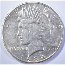 1934-S PEACE DOLLAR, AU