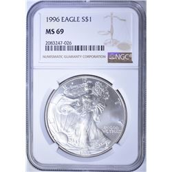 1996 AMERICAN SILVER EAGLE, NGC MS-69 KEY DATE!