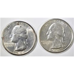 1934-D & 35-S WASHINGTON QUARTERS AU