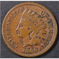 1869 INDIAN CENT VF