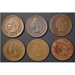 6 CIRCULATED INDIAN CENTS SOME EARLY DATES