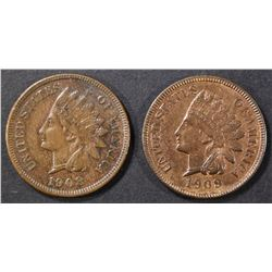 1908 & 09 INDIAN CENTS BU