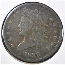 1833 HALF CENT, F/VF