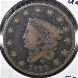 1828 MATRON HEAD LARGE CENT, FINE