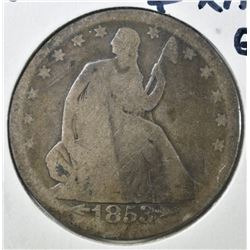 1853 ARROWS & RAYS HALF DOLLAR, G/VG
