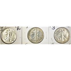 (3) 1944-S WALKING LIBERTY HALF DOLLARS