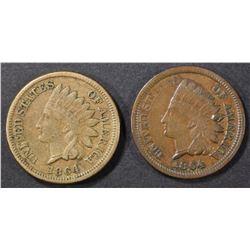 1864 CN, & 64 BRONZE INDIAN CENTS FINE