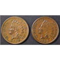 1888 & 89 INDIAN CENTS AU/BU