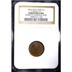 1863 CIVIL WAR TOKEN, NEW YORK NGC MS-63 BN