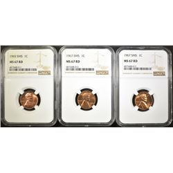 1965 SMS & 2-1967 SMS LINCOLN CENTS, NGC MS-67 RED