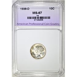 1938-D MERCURY DIME APCG SUPERB GEM BU FB