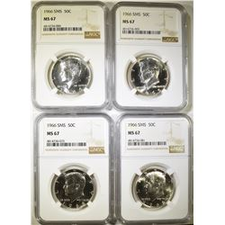 4-1966 SMS KENNEDY HALF DOLLARS, NGC MS-67