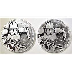 2-2019 NIUE ONE OUNCE SILVER CLONE TROOPER COINS