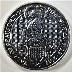 2019 QUEENS BEAST 2-OUNCE SILVER YALE OF BEAUFORD