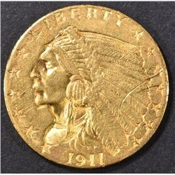 1911 $2.50 GOLD INDIAN BU scratch