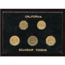 Lot of 5 Replica California Gold Tokens